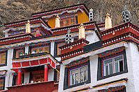 Palha Lupuk, built into the side of Chagpo Ri mountain, home to the 7th century cave temple retreat of King Songtsen Gampo, Lhasa, Tibet, China.