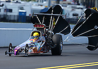 Sep 14, 2013; Charlotte, NC, USA; NHRA top alcohol dragster driver XXXX during qualifying for the Carolina Nationals at zMax Dragway. Mandatory Credit: Mark J. Rebilas-