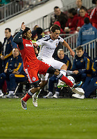13 April 2011: Los Angeles Galaxy defender Todd Dunivant #2 and Toronto FC forward Javier Martina #33 in action during an MLS game between Los Angeles Galaxy and the Toronto FC at BMO Field in Toronto, Ontario Canada..The game ended in a 0-0 draw.