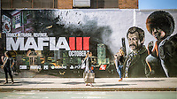 """A billboard on the side of a building on in the Williamsburg neighborhood of Brooklyn in New York on Saturday, October 15, 2016 advertises 2K Games' """"Mafia III"""" action-adventure video game. The game was developed by Hangar 13 and published by 2K Games and was recently released.    (© Richard B. Levine)"""