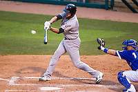 Nashville Sounds first baseman Ike Davis (21) swings the bat during the Pacific Coast League baseball game against the Oklahoma City Dodgers on June 12, 2015 at Chickasaw Bricktown Ballpark in Oklahoma City, Oklahoma. The Dodgers defeated the Sounds 11-7. (Andrew Woolley/Four Seam Images)