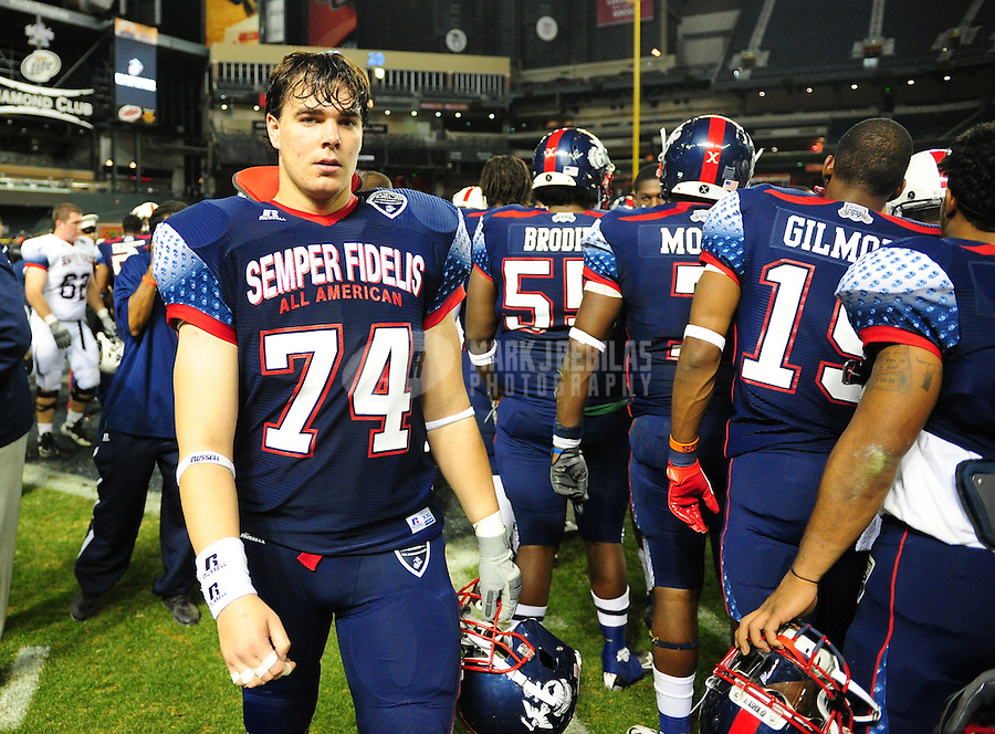Jan. 3, 2012; Phoenix, AZ, USA; East offensive tackle (74) Mark Harrell against the West during the Semper Fidelis All-American Bowl high school football game at Chase Field. Mandatory Credit: Mark J. Rebilas-