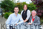 Kerry Toastmasters Michael Collins former Division Director, Debbie Looney Area Director and Gerard Mannix Division Director at their annual Summer dinner party in the Randles Court Hotel Killarney on Saturday evening