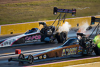 Oct 15, 2016; Ennis, TX, USA; NHRA top fuel driver Tony Schumacher (near) alongside Steve Torrence during qualifying for the Fall Nationals at Texas Motorplex. Mandatory Credit: Mark J. Rebilas-USA TODAY Sports