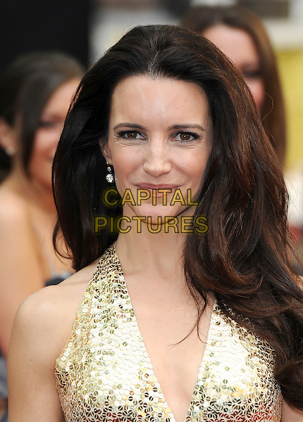 KRISTIN DAVIS in Norman Norell.'Sex And The City 2' European Premiere at the Odeon, Leicester Square, London, England..May 27th, 2010.portrait headshot gold sequined sequin metallic halterneck.CAP/BEL.©Tom Belcher/Capital Pictures.