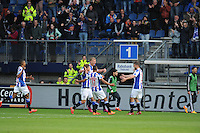 VOETBAL: HEERENVEEN: Abe Lenstra Stadion 21-05-2015, SC Heerenveen - Feyenoord, uitslag 1-0, Henk Veerman kopt de bal richting het doel van Feyenoord, waarop Simon Thern de bal binnen knikte, ©foto Martin de Jong