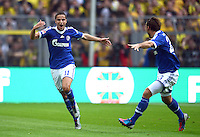 Fussball 1. Bundesliga :  Saison   2012/2013   8. Spieltag  20.10.2012 Borussia Dortmund - FC Schalke 04 Jubel nach dem Tor zum 0:1 Ibrahim Afellay und Christian Fuchs (v. li., FC Schalke 04)