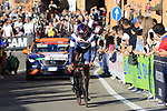Juan Jose Lobato (ESP) Nippo-Vini Fantini-Faizane on the San Luca climb during Stage 1 of the 2019 Giro d'Italia, an individual time trial running 8km from Bologna to the Sanctuary of San Luca, Bologna, Italy. 11th May 2019.<br /> Picture: Eoin Clarke | Cyclefile<br /> <br /> All photos usage must carry mandatory copyright credit (© Cyclefile | Eoin Clarke)