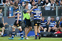 Stuart Hooper and Matt Banahan of Bath Rugby. Aviva Premiership match, between Bath Rugby and London Irish on May 5, 2018 at the Recreation Ground in Bath, England. Photo by: Patrick Khachfe / Onside Images
