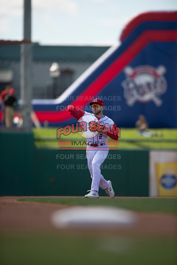 Stockton Ports second baseman Nick Allen (2) during a California League game against the San Jose Giants on April 9, 2019 in Stockton, California. San Jose defeated Stockton 4-3. (Zachary Lucy/Four Seam Images)
