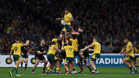 Rory Arnold of the Wallabies catches a line-out ball during the Rugby Championship match between Australia and New Zealand at Optus Stadium in Perth, Australia on August 10, 2019 . Photo: Gary Day / Frozen In Motion