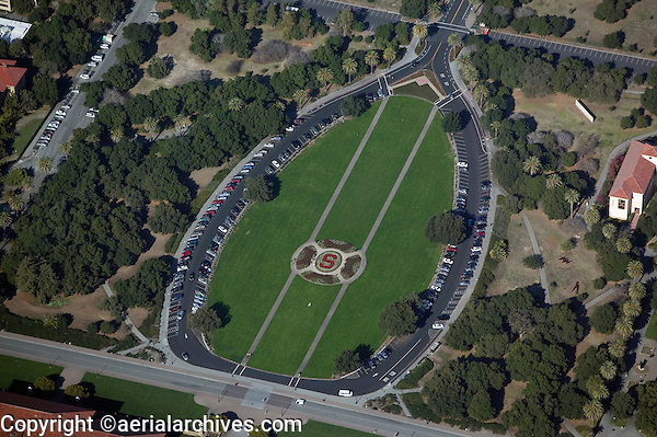 aerial photograph Campus Oval, Palm Drive Stanford University