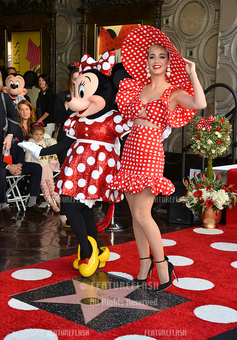 Katy Perry &amp; Minnie Mouse at the Hollywood Walk of Fame Star Ceremony honoring Disney character Minnie Mouse, Los Angeles, USA 22 Jan. 2018<br /> Picture: Paul Smith/Featureflash/SilverHub 0208 004 5359 sales@silverhubmedia.com