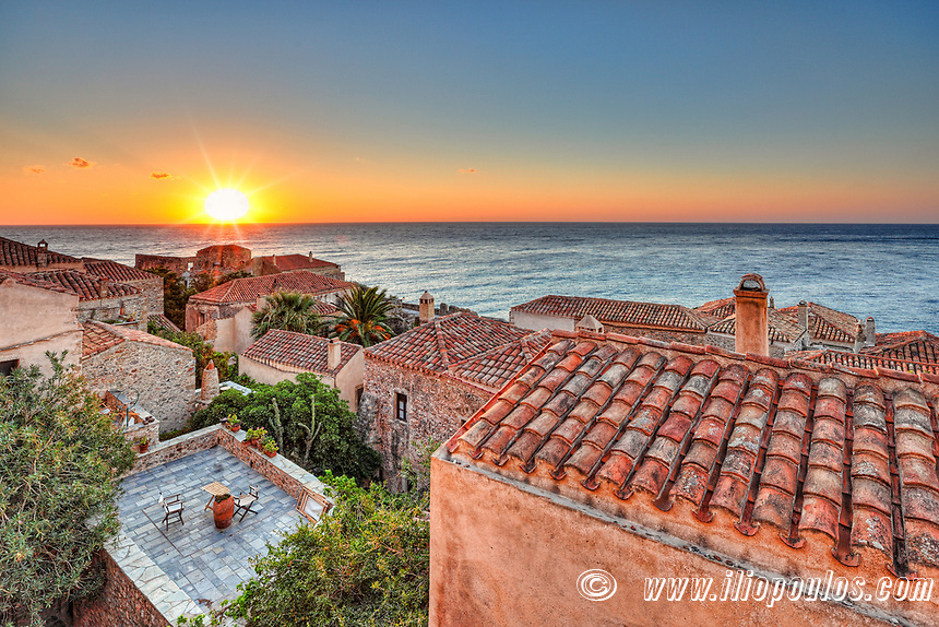 The sunrise at the Byzantine castle-town of Monemvasia in Greece