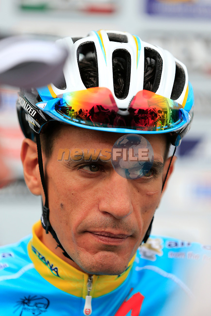 Paolo Tiralongo (ITA) Astana at sign on for the start of the 2015 96th Milan-Turin 186km race starting at San Giuliano Milanese, Italy. 1st October 2015.<br /> Picture: Eoin Clarke | Newsfile