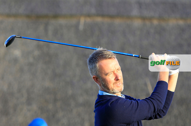 Mark Foster (ENG) on the 1st tee during Round 1 of the 2015 KLM Open at the Kennemer Golf &amp; Country Club in The Netherlands on 10/09/15.<br /> Picture: Thos Caffrey | Golffile