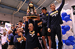 24 MAR 2012:  Members of the University of California men's team celebrate after winning the Division I Men's Swimming and Diving Championship held at the Weyerhaeuser King County Aquatic Center in Seattle, WA.  Rod Mar/ NCAA Photos