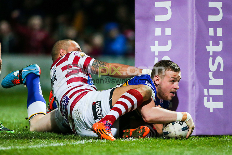 Picture by Alex Whitehead/SWpix.com - 20/03/2015 - Rugby League - First Utility Super League - Leeds Rhinos v Wigan Warriors - Headingley Carnegie Stadium, Leeds, England - Leeds' Brad Singleton scores a try.