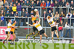Stacks Kieran Donaghy spectacularly catches over Crokes midfielders Ambrose Donovan and Johnny Buckley  during the quarter final dual in Fitzgerald Stadium on Sunday