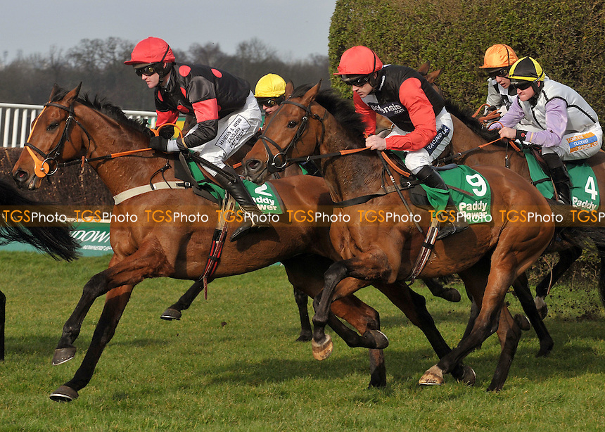 Song Sung Blue ridden by Joe Tizzard leads from Marty's Mission and Ruby Walsh - Horse Racing at Sandown Park, Esher, Surrey -10/03/2012 - MANDATORY CREDIT: Martin Dalton/TGSPHOTO - Self billing applies where appropriate - 0845 094 6026 - contact@tgsphoto.co.uk - NO UNPAID USE.