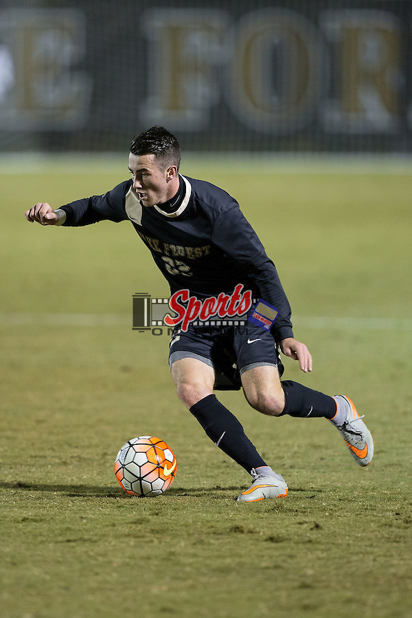 Jack Harrison (22) of the Wake Forest Demon Deacons brings the ball up the field during first half action against the Georgia State Panthers at Spry Soccer Stadium on October 20, 2015 in Winston-Salem, North Carolina.  The Demon Deacons defeated the Panthers 5-0.  (Brian Westerholt/Sports On Film)
