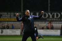 Boston United manager Craig Elliott celebrates the win during Carshalton Athletic vs Boston United, Emirates FA Cup Football at the War Memorial Sports Ground on 9th November 2019
