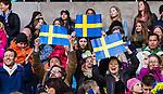 ****BETALBILD**** <br /> Stockholm 2015-04-08 Fotboll Landskamp Damer , Sverige - Danmark :  <br /> Sveriges supportrar med flaggor under matchen mellan Sverige och Danmark <br /> (Photo: Kenta J&ouml;nsson) Keywords:  Sweden Sverige Denmark Danmark Landskamp Dam Damer Tele2 Arena Stockholm supporter fans publik supporters glad gl&auml;dje lycka leende ler le