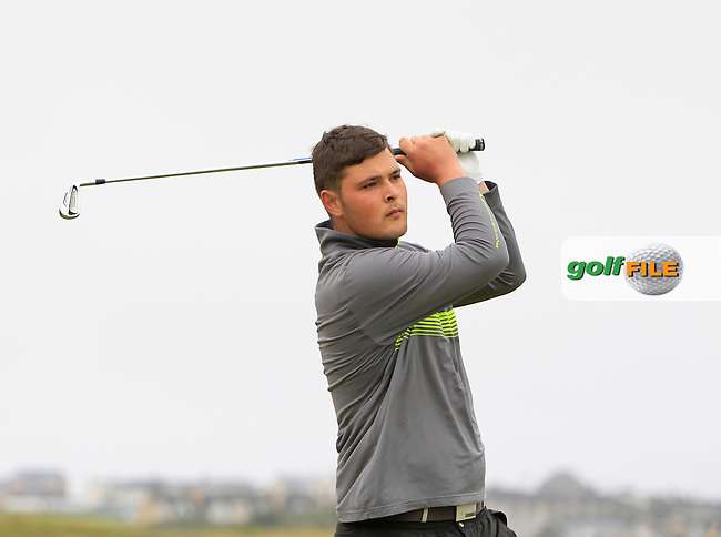 Stuart Bleakley (Shandon Park) on the 3rd tee during Round 1 of the North of Ireland Amateur Open Championship at Royal Portrush, Valley Corse on Monday 13th July 2015.<br /> Picture:  Thos Caffrey / www.golffile.ie