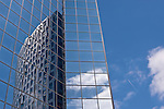 Reflections off glass buildings