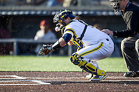 Michigan Wolverines catcher Harrison Wenson (7) blocks a wild pitch against the Central Michigan Chippewas on March 29, 2016 at Ray Fisher Stadium in Ann Arbor, Michigan. Michigan defeated Central Michigan 9-7. (Andrew Woolley/Four Seam Images)