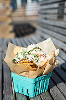 The Capricia from Chipwrecked–potato chips topped with fresh basil, parmesan and lemon, Pismo Beach, California.
