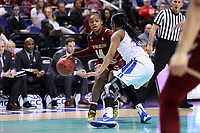 GREENSBORO, NC - MARCH 06: Marnelle Garraud #14 of Boston College dribbles the ball during a game between Boston College and Duke at Greensboro Coliseum on March 06, 2020 in Greensboro, North Carolina.