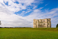 Lyveden New Bield historic ruin, Northamptonshire, England against dramatic blue sky and clouds