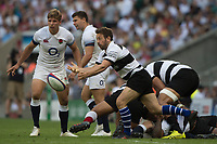 Twickenham, England, 27th May 2018. Quilter Cup, Rugby,Baa Baa's Greig LAIDLAW, passes the ball during the  England vs Barbarians, Rugy Match at the RFU. Stadium, Twickenham. UK.  <br /> <br /> &copy; Peter Spurrier/Alamy Live News