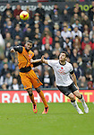 Ethan Ebanks Landell of Wolves competes with Lee Martin of Derby - Football - Sky Bet Championship - Derby County vs Wolverhampton Wanderers - iPro Stadium Derby - Season 2014/15 - 8th November 2014 - Photo Malcolm Couzens/Sportimage