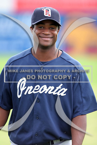 July 23 2008:  Luis Arlet of the Oneonta Tigers, Class-A affiliate of the Detroit Tigers, during a game at Dwyer Stadium in Batavia, NY.  Photo by:  Mike Janes/Four Seam Images