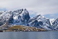 Snow covered mountains and Kjerkefjord, Lofoten Islands, Norway