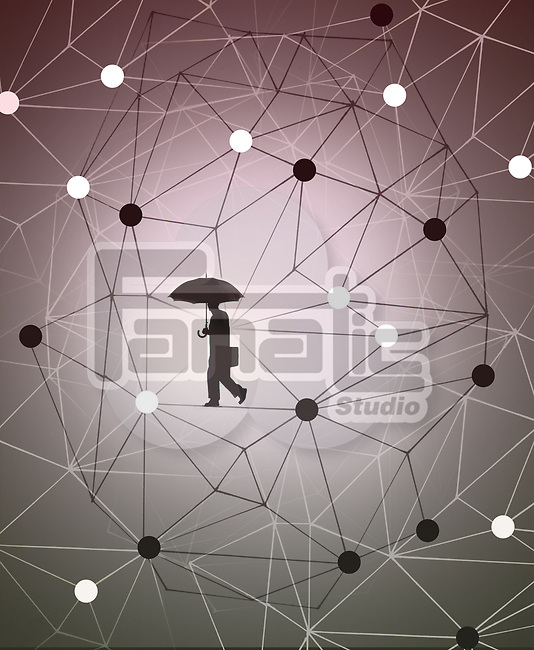 Concept image of a businessman walking in an atomic structure depicting science and business