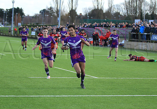 March 4th 2017, University First Team Pitch, Loughborough, England; SSE Division1 League Rugby, Loughborough Students versus Birmingham Moseley;  Kehinde Olowofela runs in to scorecard try for Loughborough Students