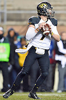 Missouri quarterback Maty Mauk (7) looks for an open receiver during an NCAA football game, Saturday, November 15, 2014 in College Station, Tex. Missouri defeated Texas A&M 34-27. (Mo Khursheed/TFV Media via AP Images)