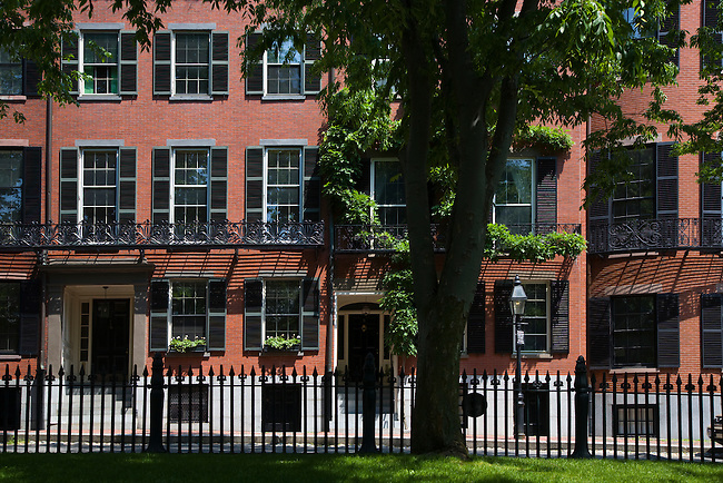 Classic BRICK HOUSES of the wealthy grace LOUISBURG SQUARE on BEACON HILL - BOSTON, MASSACHUSETTS