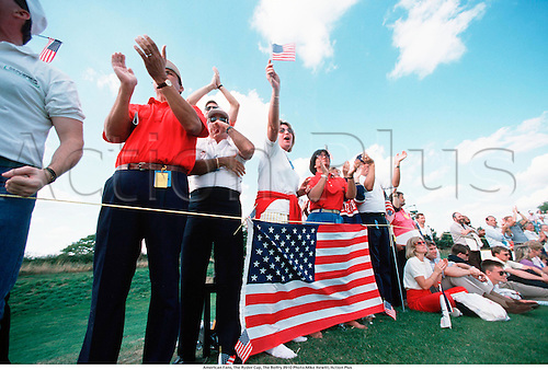 American Fans, The Ryder Cup, The Belfry 8910 Photo:Mike Hewitt/Action Plus...1991.crowd crowds.gallery.spectators spectator.fan fans.golf