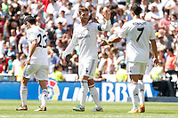 Real Madrid's Isco, Sergio Ramos and Ronaldo during La Liga Match. September 01, 2013. (ALTERPHOTOS/Caro Marin) <br /> Football Calcio 2013/2014<br /> La Liga Spagna<br /> Foto Alterphotos / Insidefoto <br /> ITALY ONLY