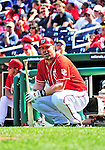 25 September 2010: Washington Nationals infielder Adam Dunn squats on deck during game action against the Atlanta Braves at Nationals Park in Washington, DC. The Braves shut out the Nationals 5-0 to even their 3-game series at one win apiece. The Braves' victory was the 2500th career win for skipper Bobby Cox. Cox will retire at the end of the 2010 season, crowning a 29-year managerial career. Mandatory Credit: Ed Wolfstein Photo