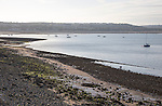Wide beach at low tide, Swansea bay, Mumbles, Gower peninsula, South Wales, UK