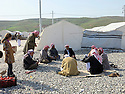 Iraq 2015 <br /> In the camp of Berseve, Yaazidi men discussing near the tents where they lived  <br /> Irak 2015 <br /> Au camp de Berseve , homes Yezidi discutant a cot&eacute; des tentes ou ils vivent.