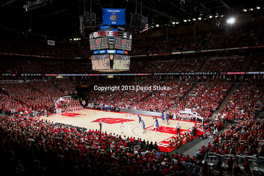 A general view of the Kohl Center during a Wisconsin Badgers NCAA college basketball game against the Florida Gators Tuesday, November 12, 2013, in Madison, Wis. The Badgers won 59-53. (Photo by David Stluka)