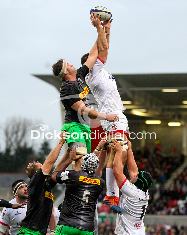 Saturday 7th December 2019 | Ulster Rugby vs Harlequins<br /> <br /> Alan O'Connor wins this lineout during the Heineken Champions Cup Round 3 clash in Pool 3, between Ulster Rugby and Harlequins at Kingspan Stadium, Ravenhill Park, Belfast, Northern Ireland. Photo by John Dickson / DICKSONDIGITAL