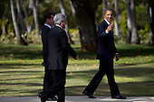United States President Barack Obama, right, President Sebastián Piñera of Chile, center, and President Dmitry Medvedev of Russia walk away from the Asia-Pacific Economic Cooperation (APEC) family photo including themselves and other world leaders at the J.W. Marriott Hotel in Honolulu, Hawaii on Sunday, November 13, 2011..Credit: Kent Nishimura / Pool via CNP