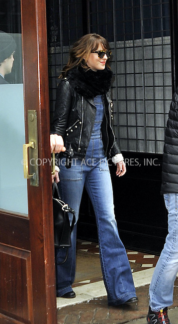 WWW.ACEPIXS.COM<br /> <br /> February 26 2015, New York City<br /> <br /> Actress Dakota Johnson stops to greet fans as she leaves a downtown hotel on her way to SNL rehearsals on February 26 2015 in New York City<br /> <br /> <br /> By Line: Curtis Means/ACE Pictures<br /> <br /> <br /> ACE Pictures, Inc.<br /> tel: 646 769 0430<br /> Email: info@acepixs.com<br /> www.acepixs.com